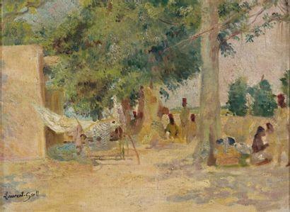 Laurent GSELL (1860-1944) Marché africain Huile sur toile, signée en bas à gauche...