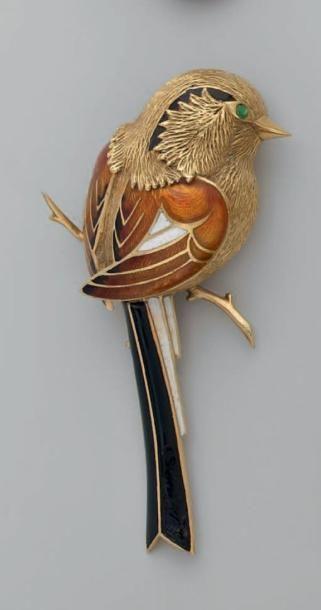 Broche en or, stylisant un oiseau sur une...