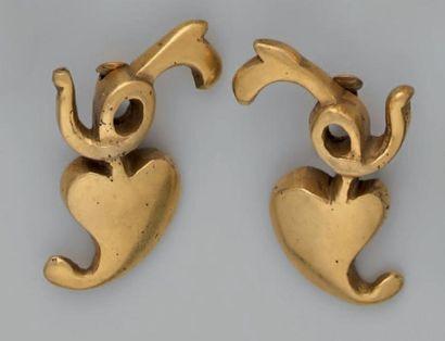"""Line VAUTRIN """"Le coeur de l'imprimeur"""" Paire de clips d'oreilles en bronze doré,..."""