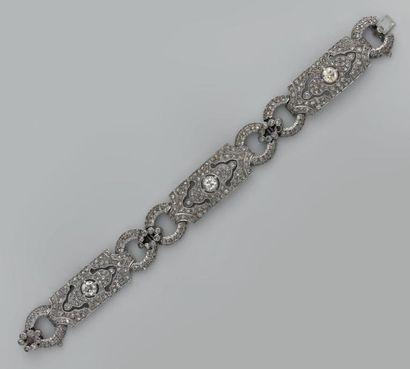 Bracelet articulé en argent, composé de 3...