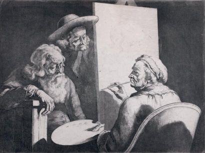 Jean Jacques de BOISSIEU (Lyon 1736 - 1810) Autoportrait dans son atelier Panneau...