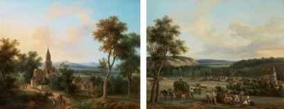 Ecole FRANCAISE vers 1840 Paysage à l'église Le retour du marché Paire de toiles....