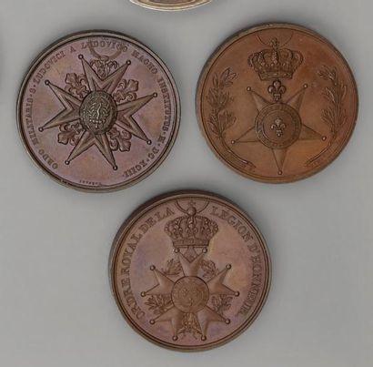 Trois médailles en bronze, commémoratives,...