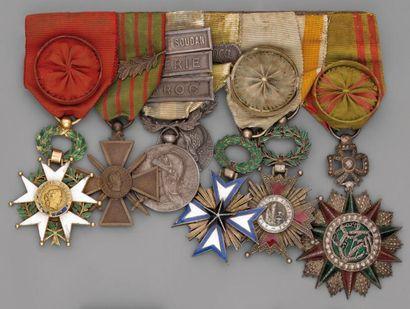 Brochette de sept décorations et médailles,...