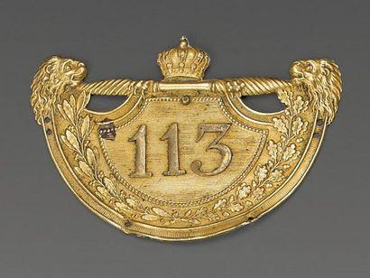 Plaque de shako d'officier du 113e régiment...