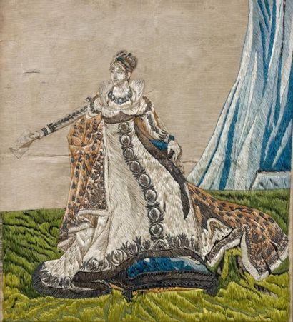 Broderie sur moire beige: l'Impératrice Joséphine...