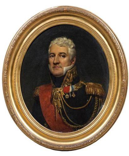 Huile sur toile ovale: Portrait du général...