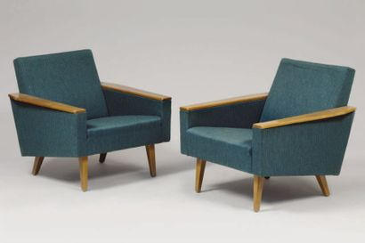 TRAVAIL FRANÇAIS 1960 Paire de fauteuils...