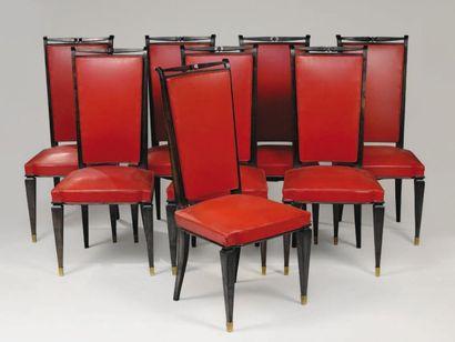 TRAVAIL FRANÇAIS 1930 Suite de huit chaises...