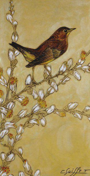 SUISSE Gaston (1896-1988) « Rossignol ». Pastel à l'huile sur fond or. Signé en bas...