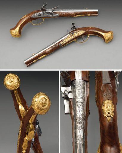 Très belle paire de pistolets à silex de...