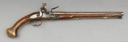 Grand pistolet d'arçon à silex, canon à pans...