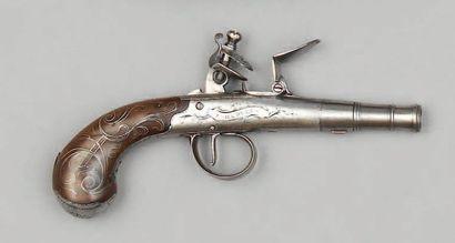 Pistolet à coffre à silex en fer, canon rond...