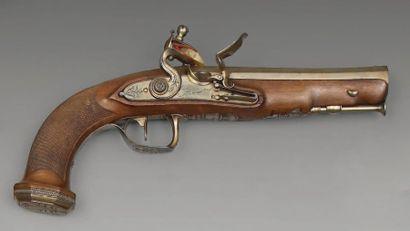 Pistolet à silex d'officier, canon octogonal...