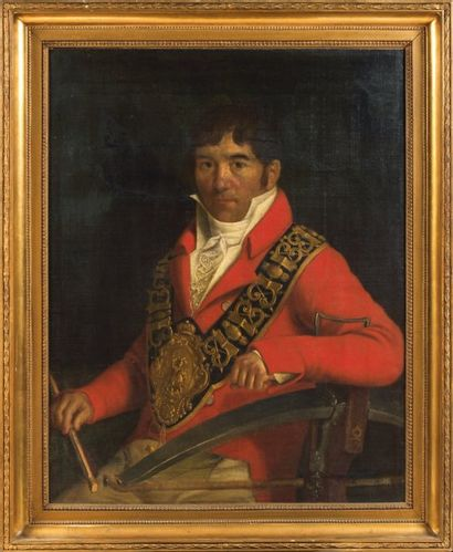 Huile sur toile : Portrait d'un arbalétrier...
