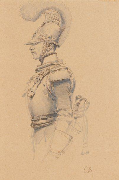 Édouard Detaille, dessin à la plume rehaussé...