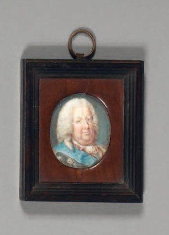 Miniature ovale sur ivoire : Portrait de...