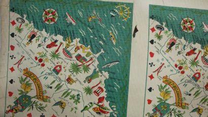 Maquettes gouachées et empreintes pour foulards,...