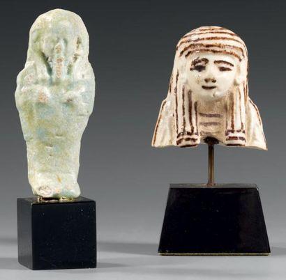 Lot comprenant un buste de chaouabti portant...