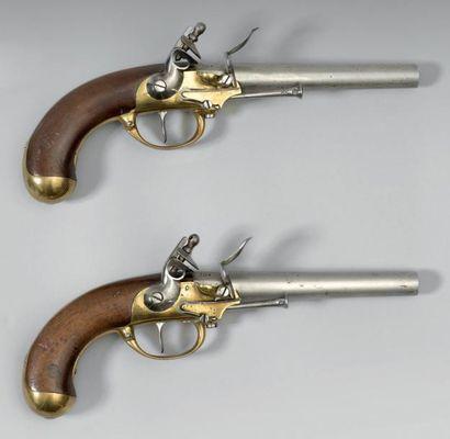"""XVIIIe Paire de pistolets de cavalerie à silex modèle 1777, canons poinçonnés: """"R""""..."""