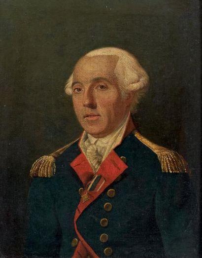 Huile sur toile: Portrait d'un officier supérieur...