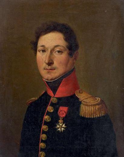 Huile sur toile: Portrait d'un commandant...