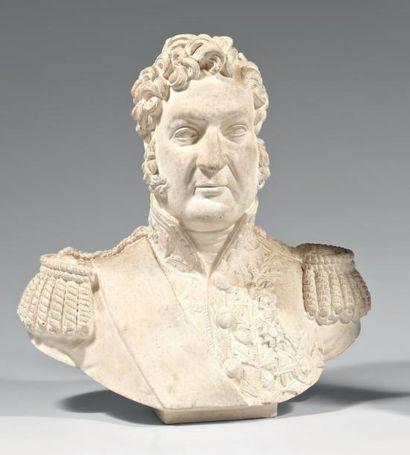 Buste du Roi Louis-Philippe en plâtre, marqué...