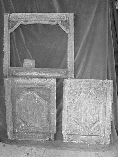 3 Panneaux décor plâtre façon bois H. 60...