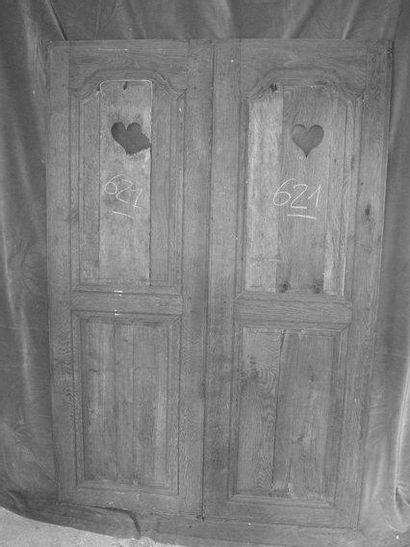 Paire de portes de placard en chêne et peuplier...