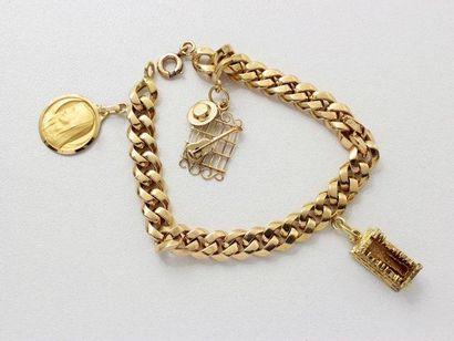 Bracelet en or, maille gourmette creuse,...