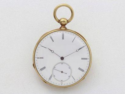 Rare montre de poche en or, cadran émaillé...