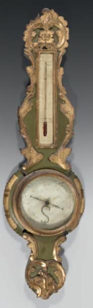 Baromètre-thermomètre en bois sculpté, doré...