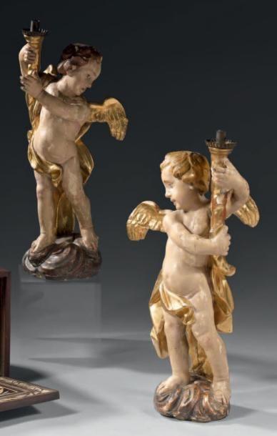 Paire de statuettes, formant flambeaux, en...
