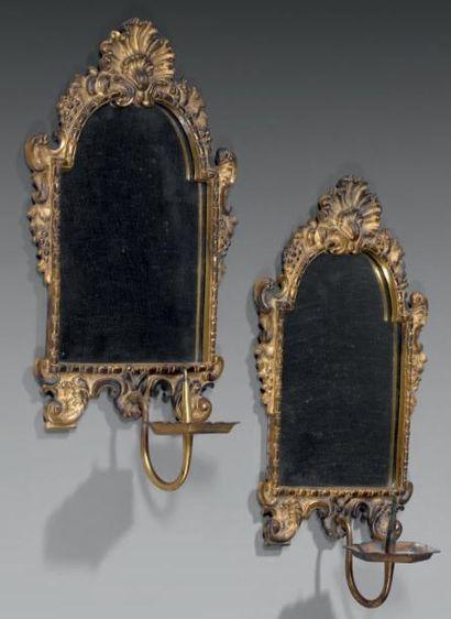 Paire de miroirs d'alcôve à une lumière,...