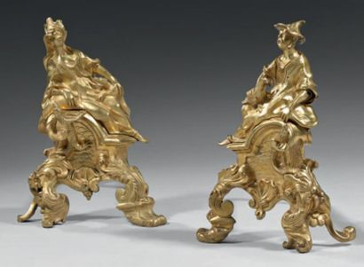 Paire de chenets en bronze à décor dit aux...