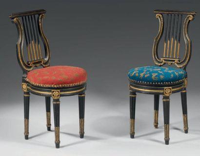 Paire de chaises à dossier plat, en forme...