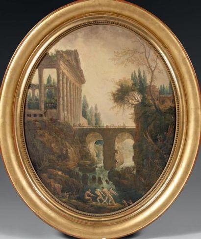 Ecole FRANCAISE du XIXème siècle, dans le goût d'Hubert ROBERT