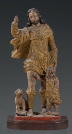 Groupe en bois sculpté en ronde bosse doré...