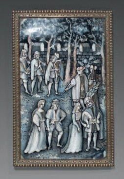 Scène pastorale composée de neufs personnages....