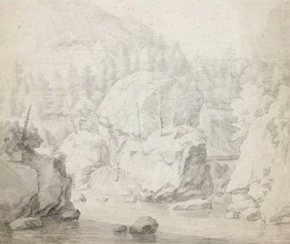 ECOLE HOLLANDAISE DU XVIIème SIECLE entourage de Albert EVERDIGEN Vue d'un torrent...
