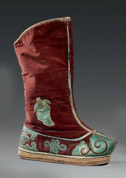Paire de bottes pour homme, Chine, XIXème...