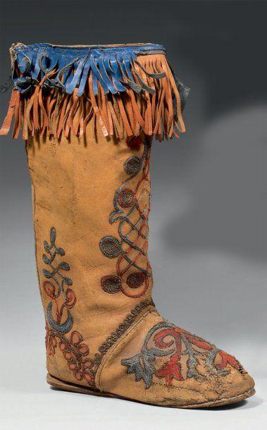 Botte amérindienne pour homme, XIXème siècle....