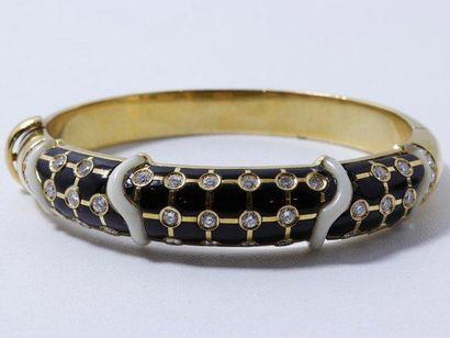 Bracelet jonc rigide ouvrant en or, habillé...