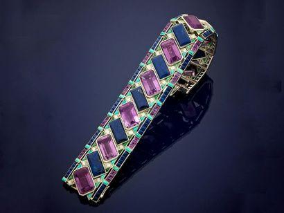 Élégant et rare bracelet ruban en platine,...