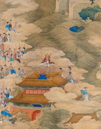 CHINE Laozi sur sa grue au temple de Xiwangmu Peinture en hauteur, encre et polychromie...