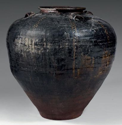 CHINE- Epoque SONG (960 - 1279) Importante jarre de forme ovoïde en grès émaillé...