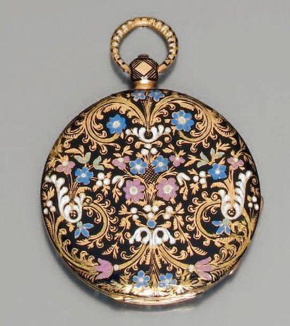 Délicate montre de poche or et émail polychrome,...