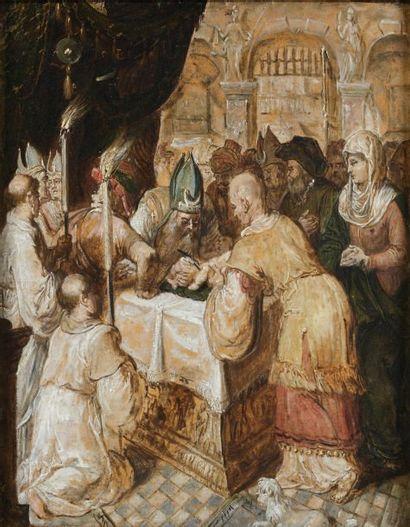 Ecole ESPAGNOLE de la fin du XVIème siècle La Circoncision Papier marouflé sur panneau...