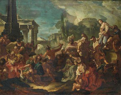 Attribué à Giovanni Antonio BURRINI (1656 - 1727) Le massacre des innocents Toile...