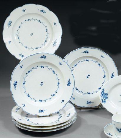 ARRAS. Rare suite de six assiettes plates...